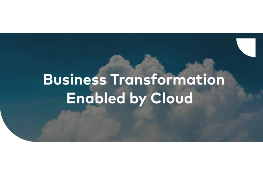"""cloud background banner with """"Business Transformation Enabled by the Cloud"""" wording"""