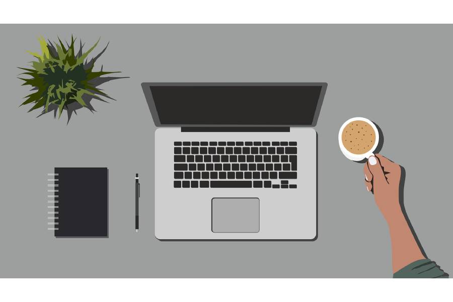 Working from home graphic desktop
